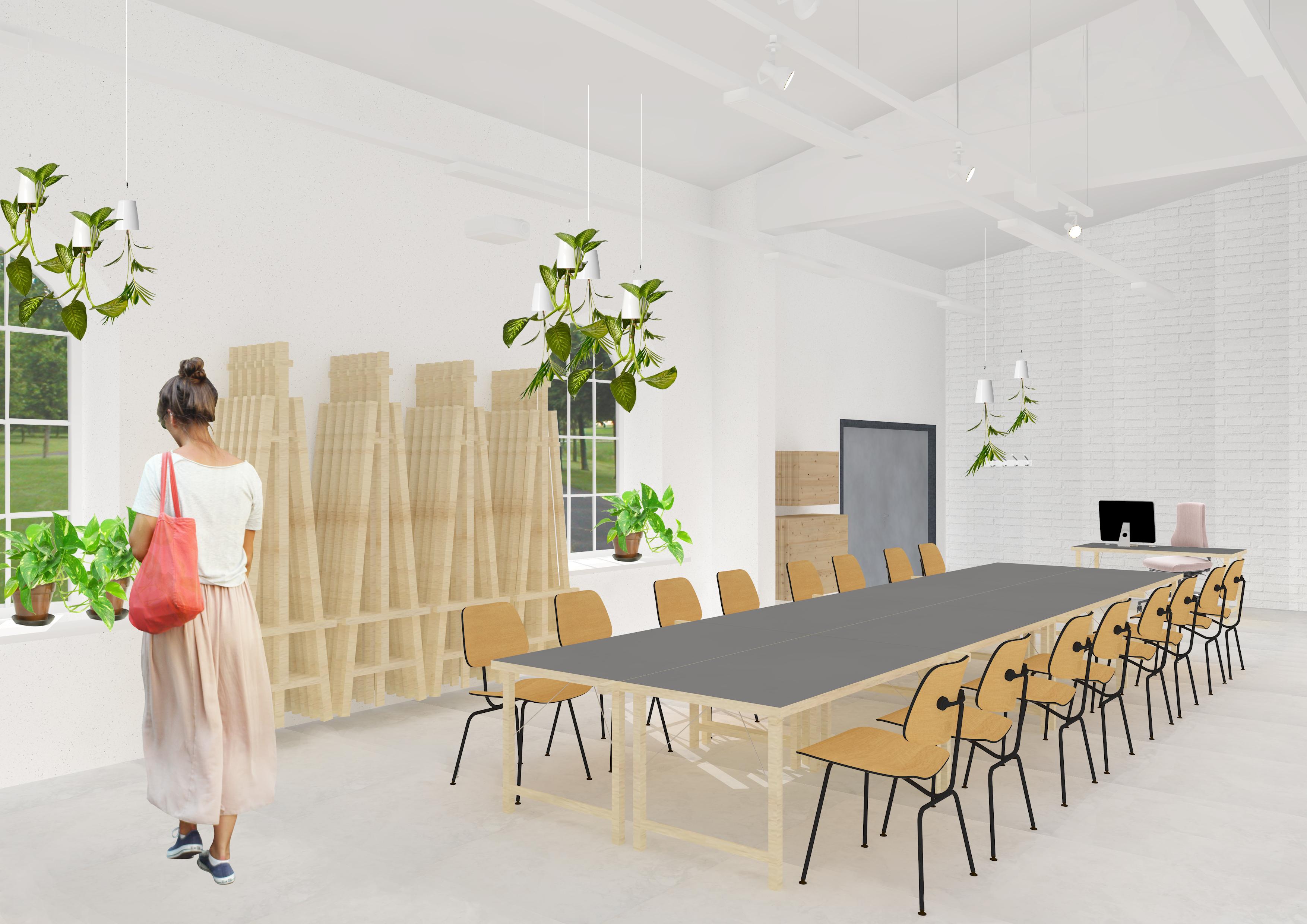 Final Thesis. Arabia Campus - Art class design with organic materials. 2016. Mira Hölttä. Interior Architecture. Photo: Mira Hölttä. Arabian kampus - Luonnonmateriaalit & viherkasvit taideopetustilassa.
