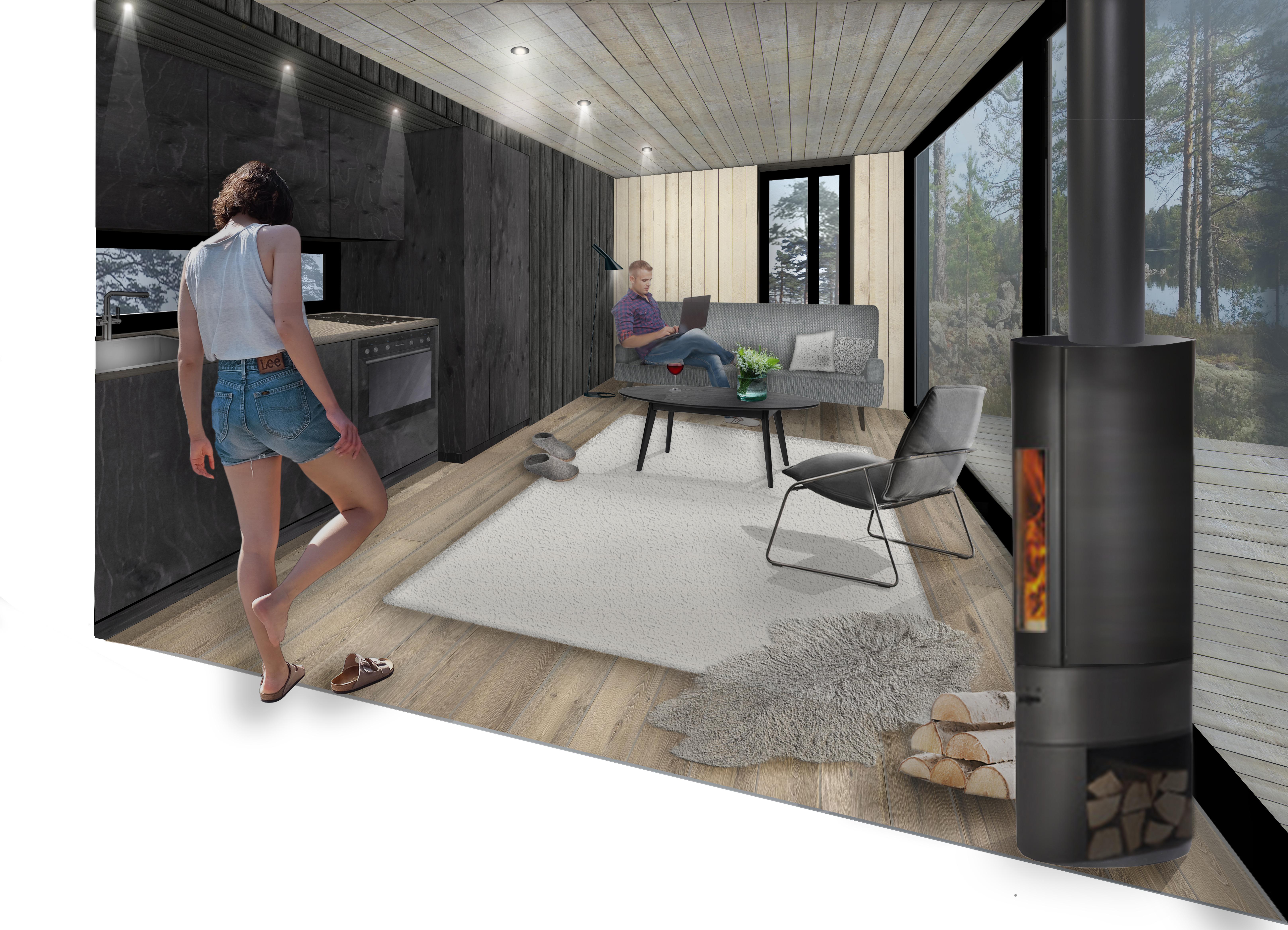 Kaski sauna cabin design metropolia for Villa maria interior design